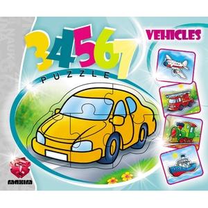 Puzzle 3, 4, 5, 6, 7 Elementów Pojazdy - Maxim