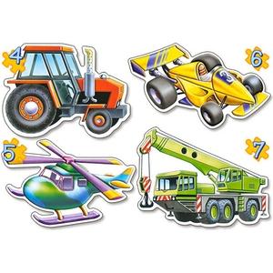 4 x Puzzle 4,5,6,7 el. Pojazdy - Castor