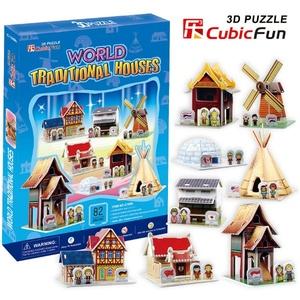 Puzzle 3D Tradycyjne Domki - Cubic Fun