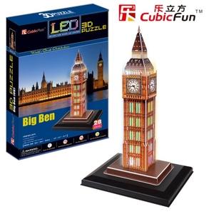Puzzle 3D Podświetlany Zegar Big Ben - Cubic Fun